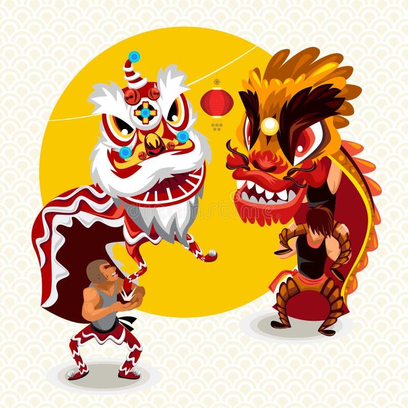 Kinesiskt mån- nytt år Lion Dance Fight royaltyfri illustrationer
