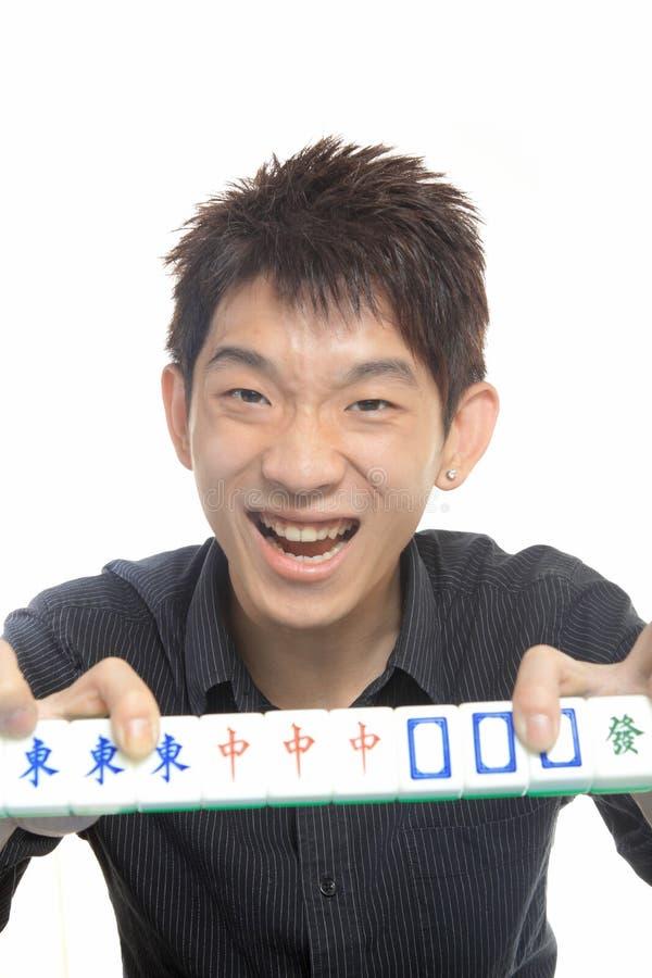 Kinesiskt manspelrum Mahjong arkivfoto