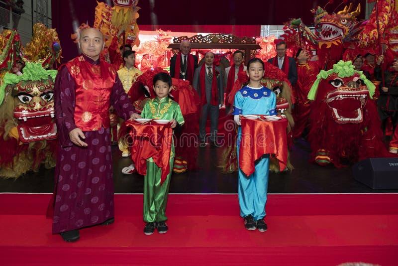 Kinesiskt nyår 2020 - Inledande firande med VIP royaltyfria bilder