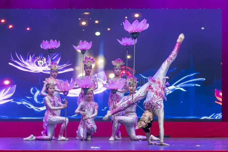 Kinesiskt nyår 2020 - Kinesiska artistspel Gansu Art Troupe royaltyfria bilder