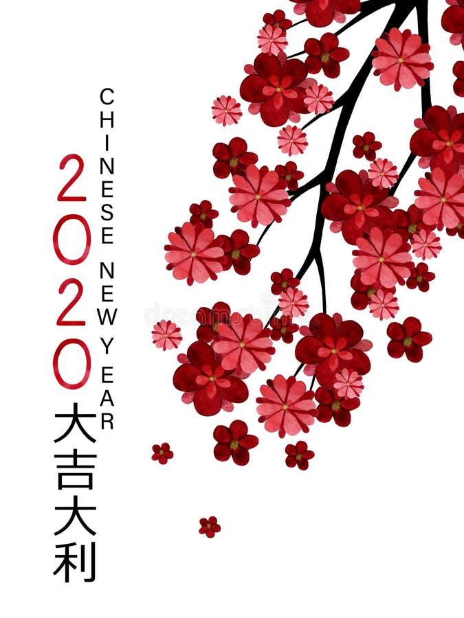 Kinesiskt nyårskort för vattenfärg 2020 med blommande plommon och persikoförgreningar vektor illustrationer