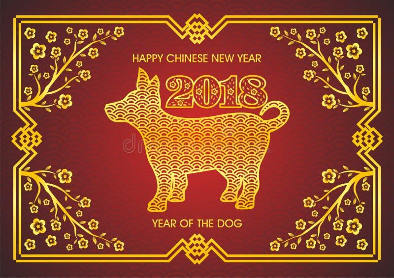 Kinesiskt nytt år 2018 - år av hunden stock illustrationer