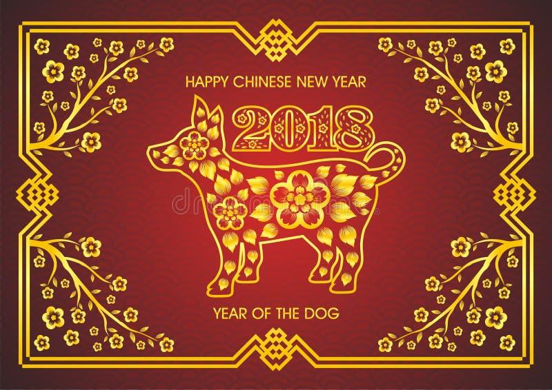 Kinesiskt nytt år 2018 - år av hunden royaltyfri illustrationer