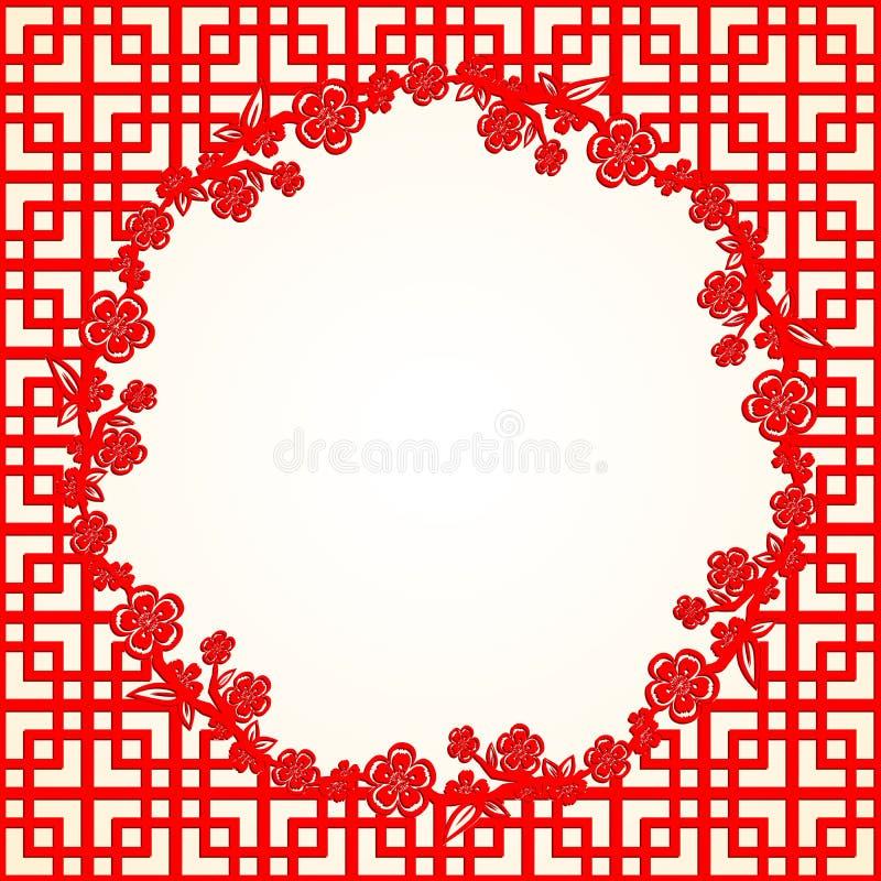 Kinesiskt nytt år Cherry Blossom Background stock illustrationer