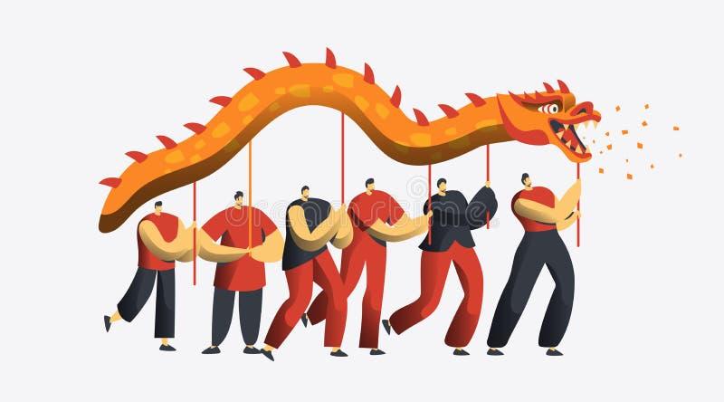 Kinesiskt nytt år Dragon Dance Parade Tecken för Asien mån- feriefolk på det festliga partiet som isoleras för inbjudankort royaltyfri illustrationer