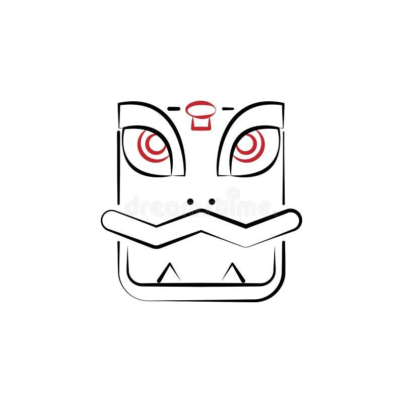 Kinesiskt nytt år drakesymbol Kan användas för rengöringsduken, logoen, den mobila appen, UI, UX vektor illustrationer