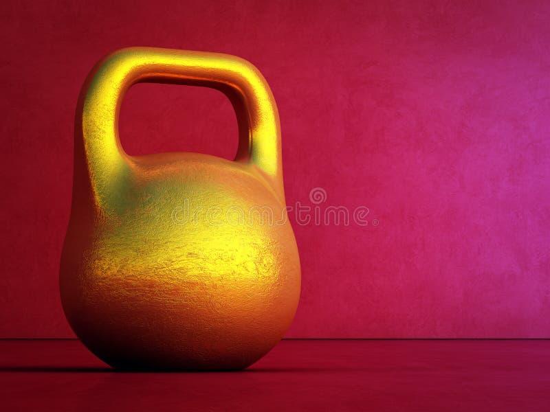 Kinesiskt nytt år med guldtackan i sunt och förmöget begrepp illustration 3d av kettlebell på röd väggbakgrund på idrottshallen vektor illustrationer