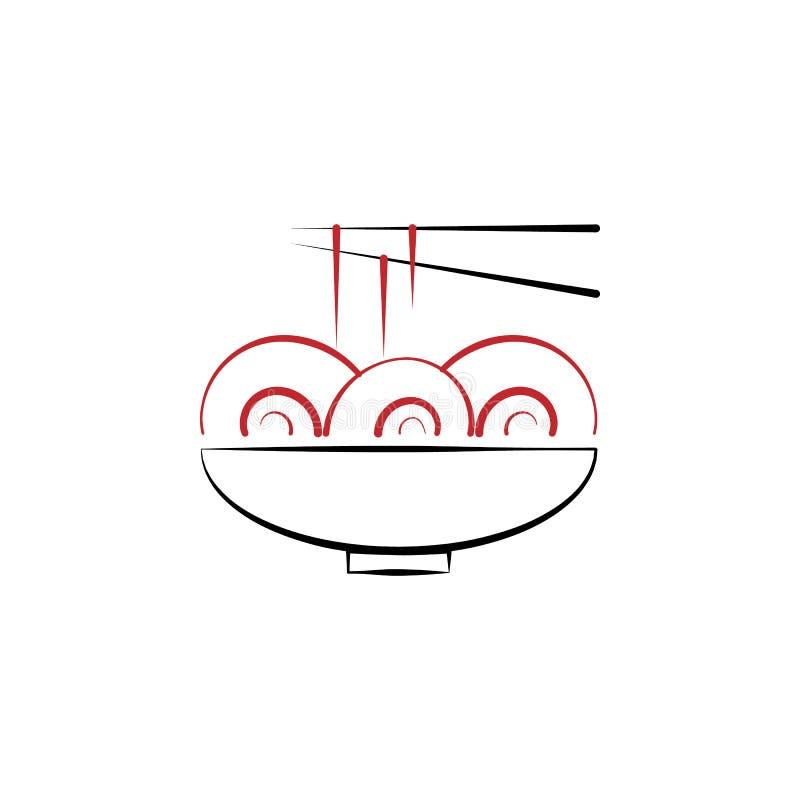 Kinesiskt nytt år nudlar, matsymbol Kan användas för rengöringsduken, logoen, den mobila appen, UI, UX stock illustrationer