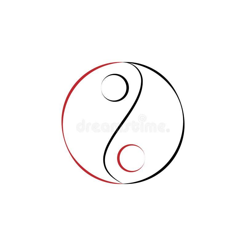 Kinesiskt nytt år yin-Yang symbol Kan användas för rengöringsduken, logoen, den mobila appen, UI, UX royaltyfri illustrationer