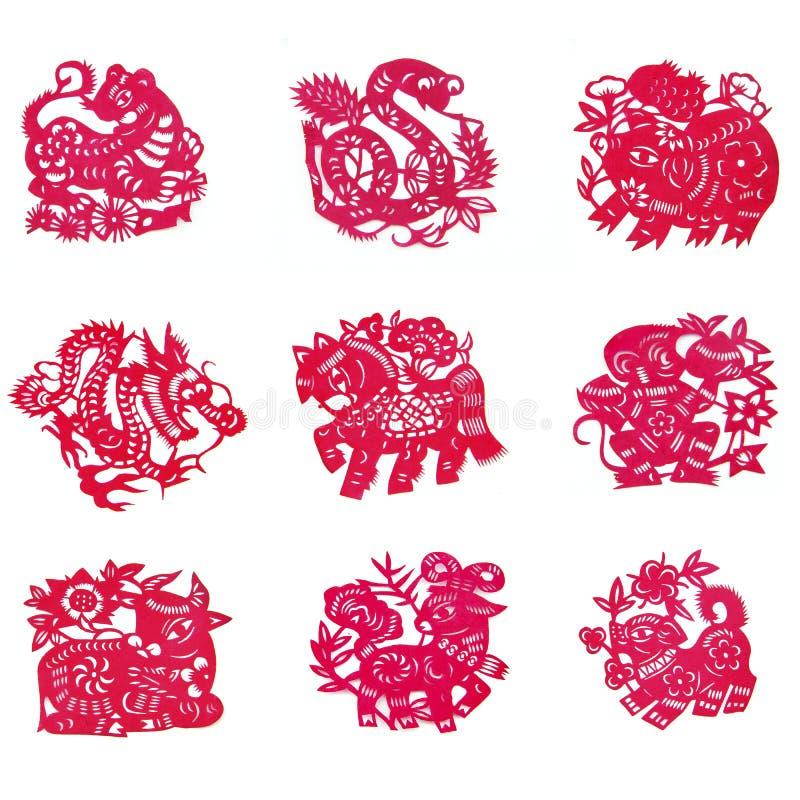 Kinesiskt papper-snitt vektor illustrationer