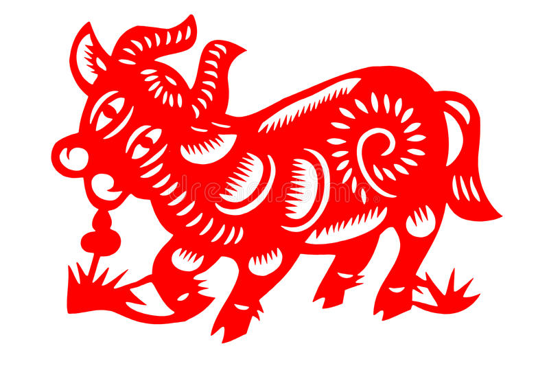 Kinesiskt papper-snitt nötkreatur royaltyfri foto