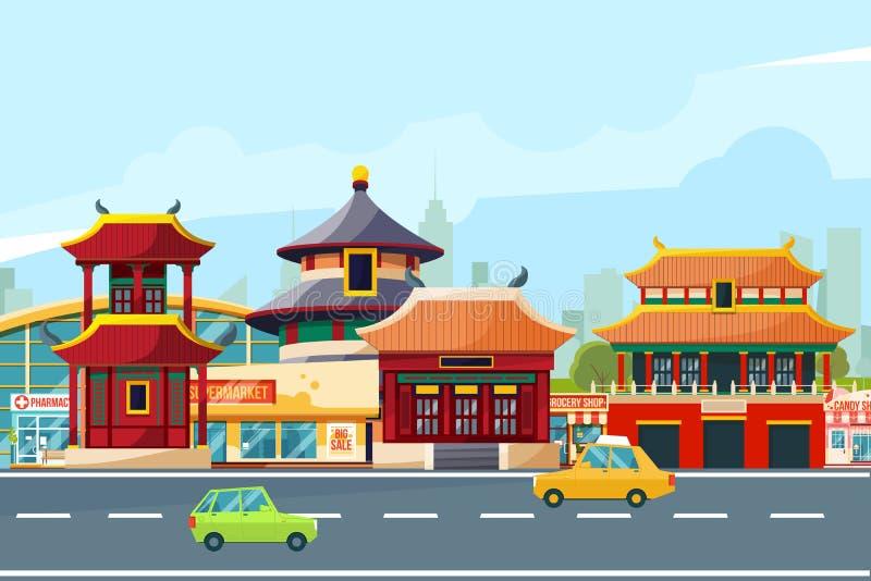 Kinesiskt stads- landskap med traditionella byggnader Kineskvarter i tecknad filmstil klar vektor för nedladdningillustrationbild stock illustrationer