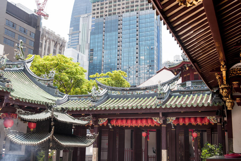 Kinesiskt tempel i Singapore royaltyfri fotografi