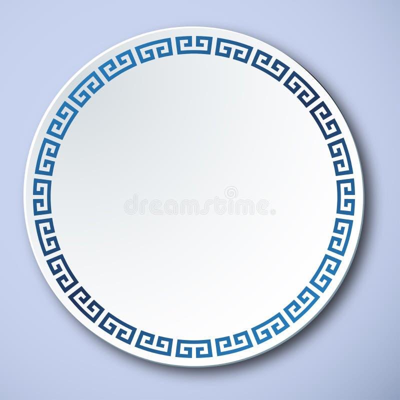 Kinesiskt traditionellt blått och vitt porslin, ramen för stor vägg stock illustrationer