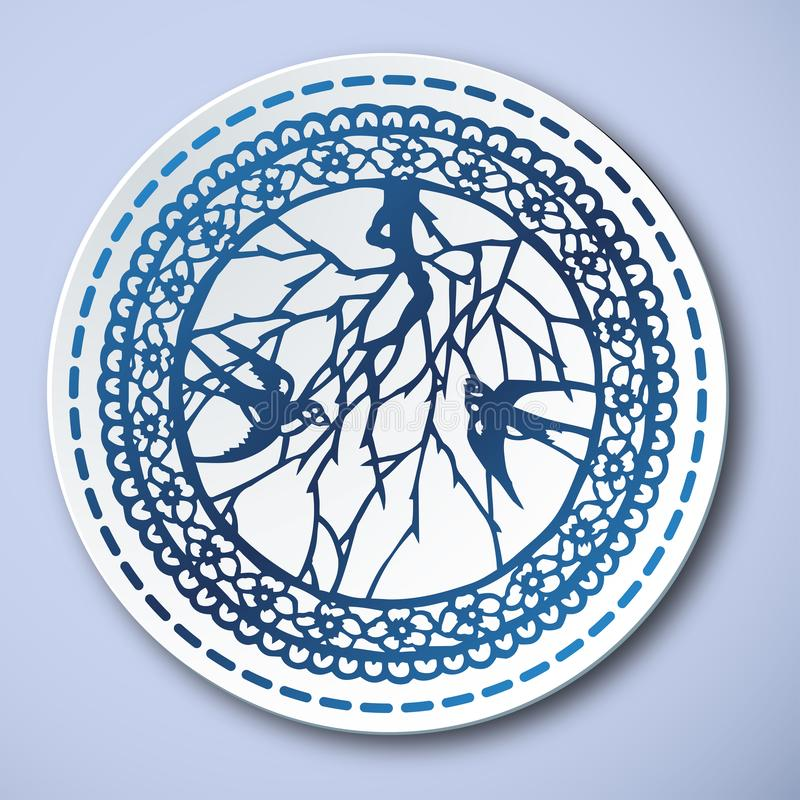 Kinesiskt traditionellt blått och vitt porslin, svala vektor illustrationer