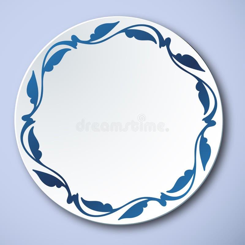 Kinesiskt traditionellt blått och vitt porslin, växten lämnar ramen royaltyfri illustrationer