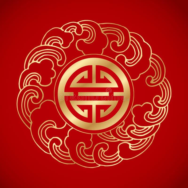 Kinesiskt traditionellt vågsymbol runt om ett symbol för långt liv royaltyfria bilder
