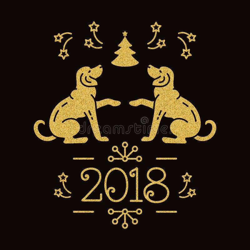 Kinesiskt zodiakår av hunden 2018, julkort Guld- symboler för ferie på en mörk bakgrund också vektor för coreldrawillustration royaltyfri illustrationer