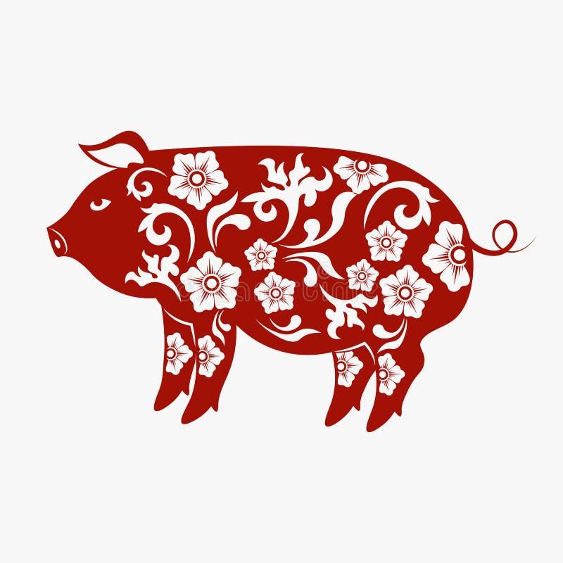 Kinesiskt zodiakteckenår av svinet, rött papperssnittsvin, lyckligt kinesiskt nytt år 2019 år av svinet vektor illustrationer