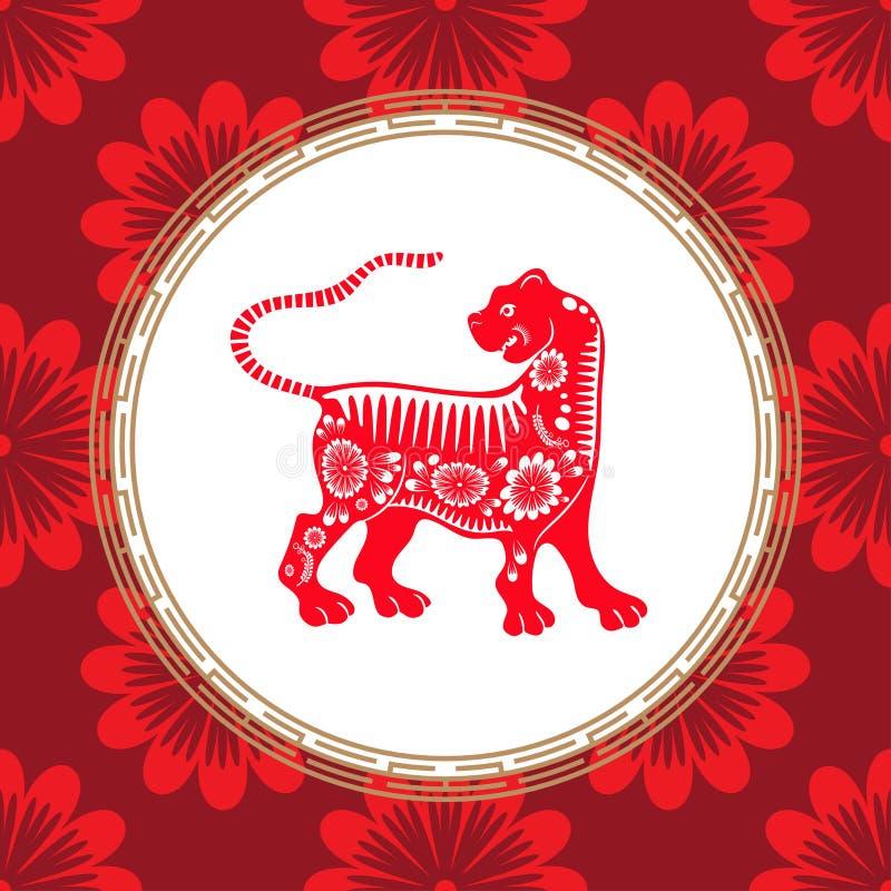 Kinesiskt zodiaktecken av året av tigern Röd tiger med den vita prydnaden stock illustrationer