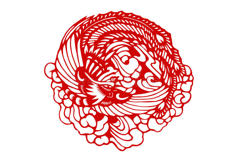kinessnittpapper traditionella phoenix vektor illustrationer