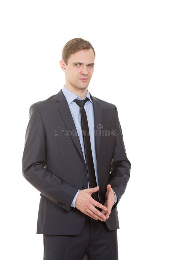 Kinetisch gedrag de mens in pak isoleerde wit royalty-vrije stock afbeelding