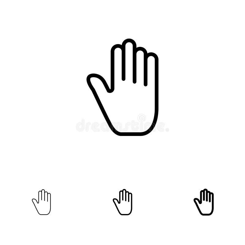 Kinetisch gedrag, Gebaren, Hand, Interface, de Gewaagde en dunne zwarte reeks van het lijnpictogram stock illustratie