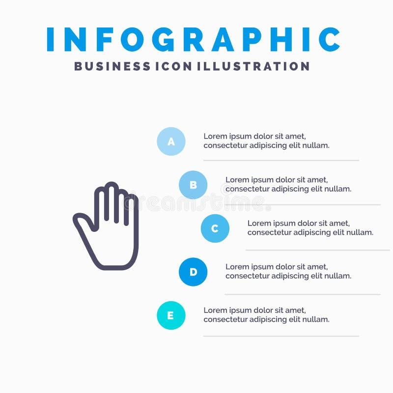 Kinetisch gedrag, Gebaren, Hand, Interface, Lijnpictogram met infographicsachtergrond van de 5 stappenpresentatie royalty-vrije illustratie
