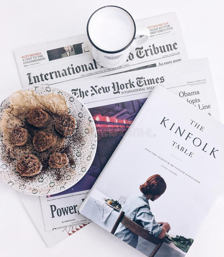 The Kinfolk Table Book Beside Baked Pastry On White Ceramic Plate With White Ceramic Mug Free Public Domain Cc0 Image