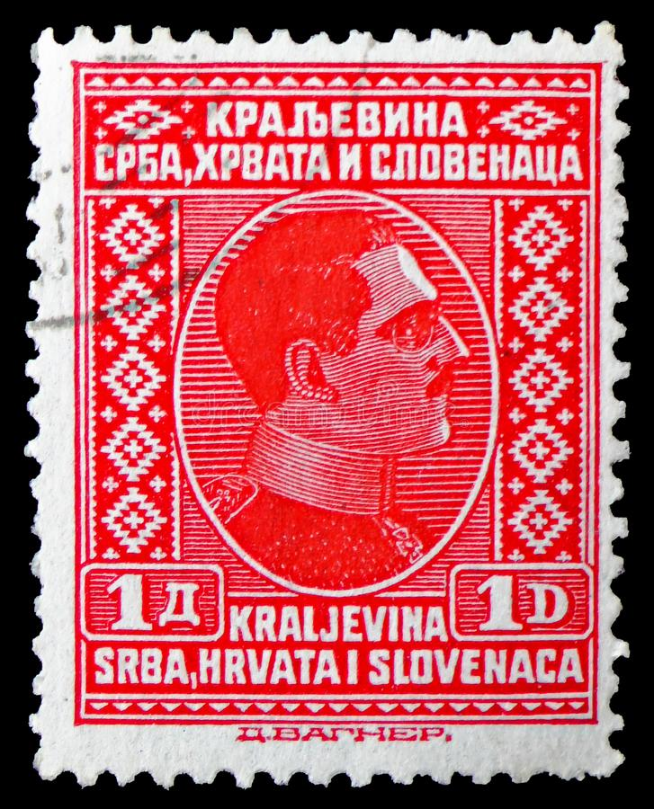 King Alexander, Issue for the whole Kingdom serie, circa 1926. MOSCOW, RUSSIA - MARCH 23, 2019: A stamp printed in Kingdom of Serbs, Croats and Slovenes shows royalty free stock photos