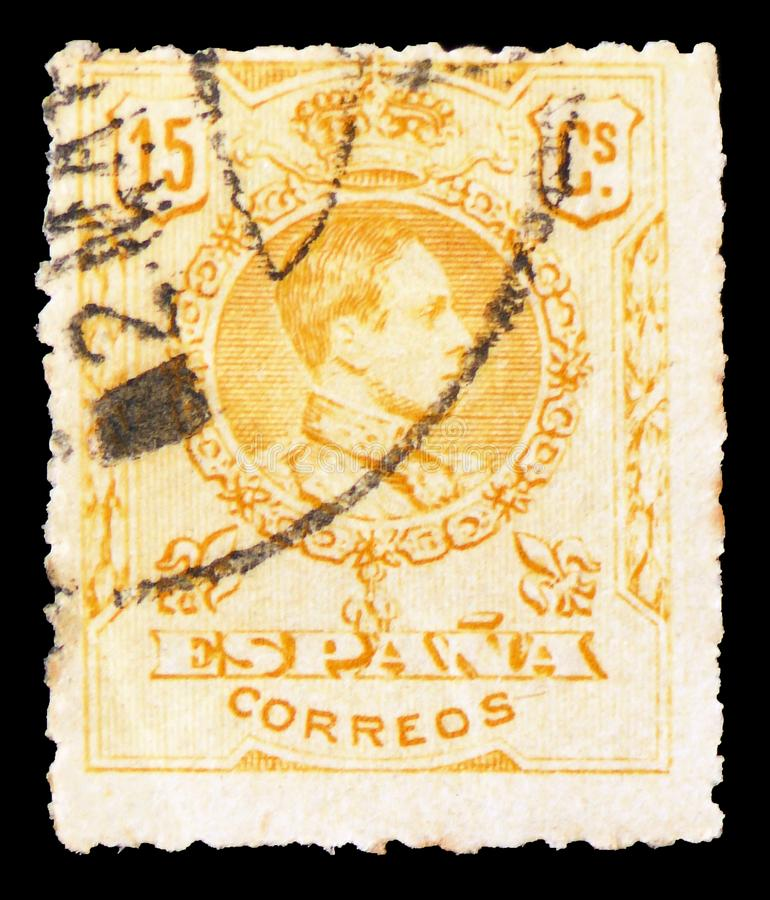 King Alfonso XIII, serie, circa 1917. MOSCOW, RUSSIA - FEBRUARY 21, 2019: A stamp printed in Spain shows King Alfonso XIII, serie, circa 1917 stock photography
