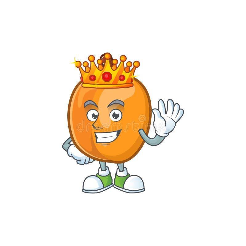 King apricot fruit in the cartoon shape. Vector illustration stock illustration