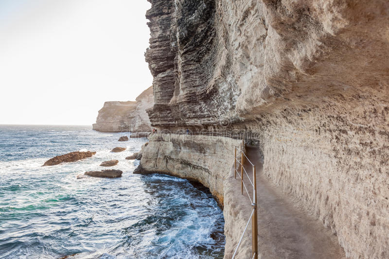 King Aragon stairs steps in Bonifacio cliff coast rocks, Corsic. King Aragon stair steps in Bonifacio cliff coast rocks, Corsica island, France stock photography