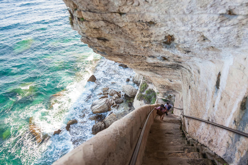 King Aragon stairs steps in Bonifacio cliff coast rocks, Corsic. King Aragon stair steps in Bonifacio cliff coast rocks, Corsica island, France royalty free stock images