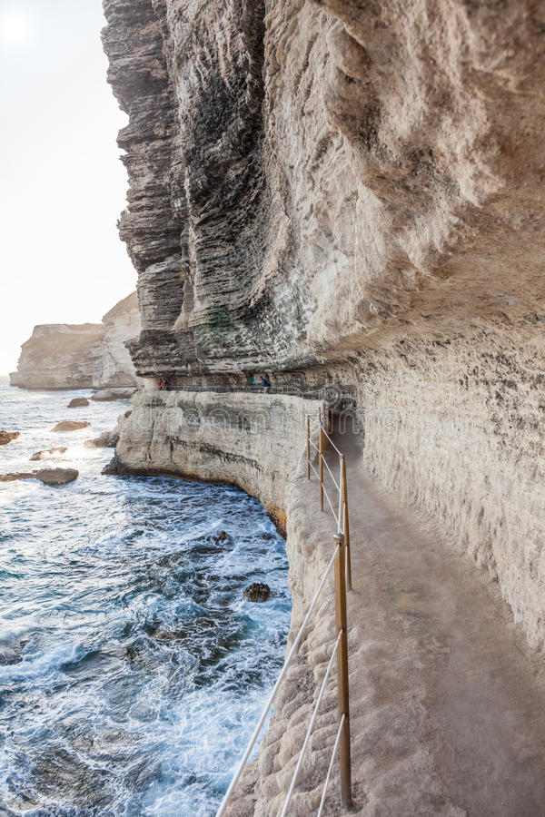 King Aragon stairs steps in Bonifacio cliff coast rocks, Corsic. King Aragon stair steps in Bonifacio cliff coast rocks, Corsica island, France royalty free stock photography
