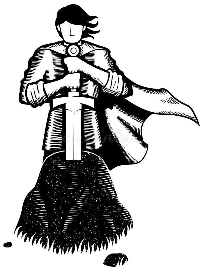 King Arthur Line Art stock illustration