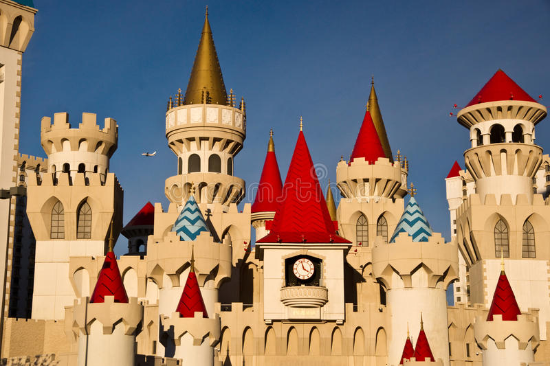 King Arthur's Castle. Las Vegas, USA – January 7, 2013: Colorful towers and turrets of the Excalibur Hotel and Casino brighten spirits along Las Vegas stock photography
