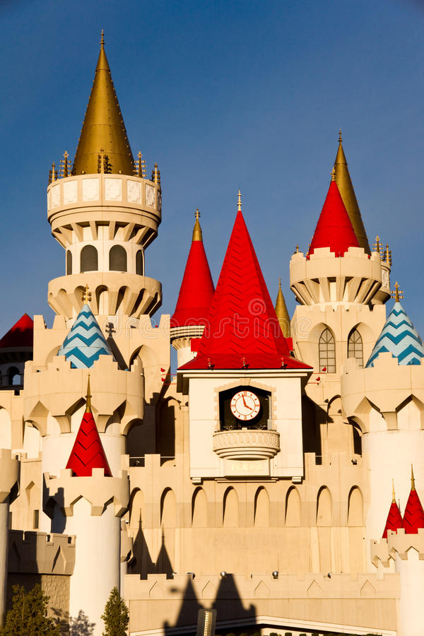 King Arthur's Castle. Las Vegas, USA – January 7, 2013: Colorful towers and turrets of the Excalibur Hotel and Casino brighten spirits along Las Vegas royalty free stock photo