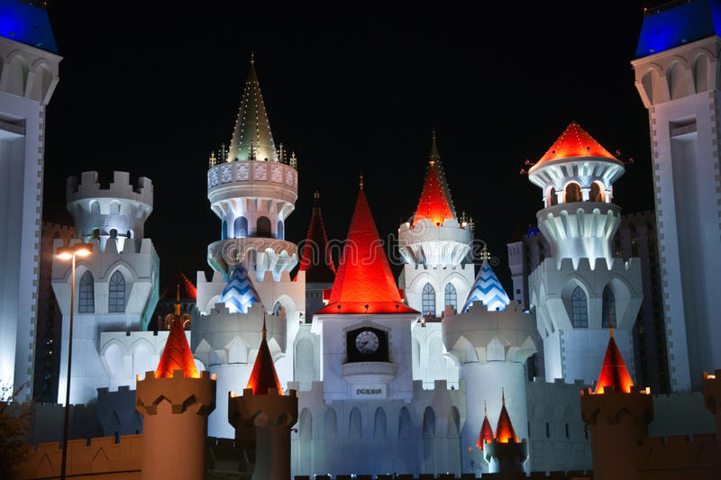 King Arthur's Nights. Las Vegas, USA – January 7, 2013: Colorful night view of towers and turrets of the Excalibur Hotel and Casino brighten spirits along royalty free stock photos