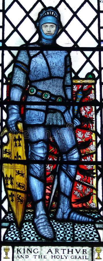 King Arthur in stained glass stock illustration