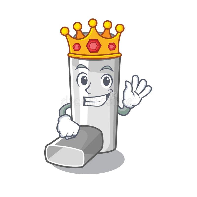 King asthma inhaler in the character bag. Vector illustration stock illustration