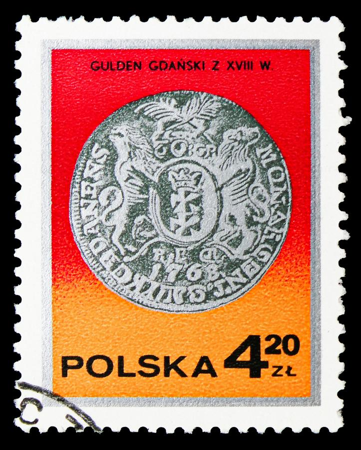 King Augustus III guilder, Gdansk, 18th century, Silver coins serie, circa 1977. MOSCOW, RUSSIA - SEPTEMBER 15, 2018: A stamp printed in Poland shows King stock illustration