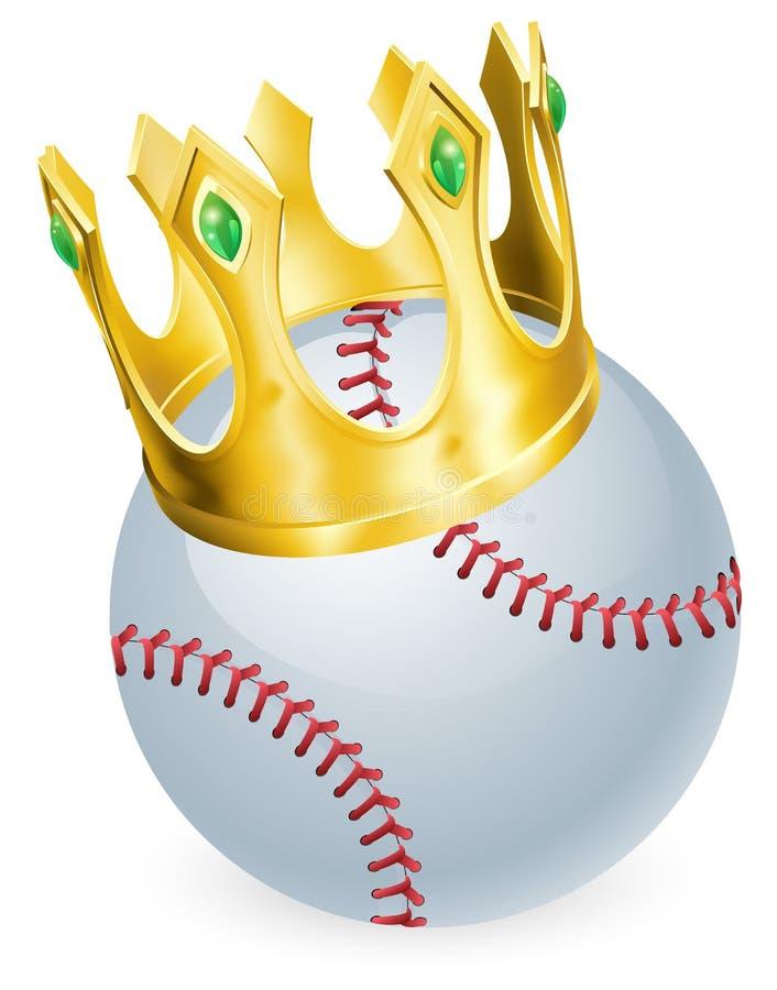 King of baseball. Concept, a baseball ball wearing a gold crown stock illustration