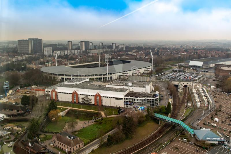 King Baudouin National Football and Rugby Stadium from Atomium building in Brussels, Belgiu royalty free stock image