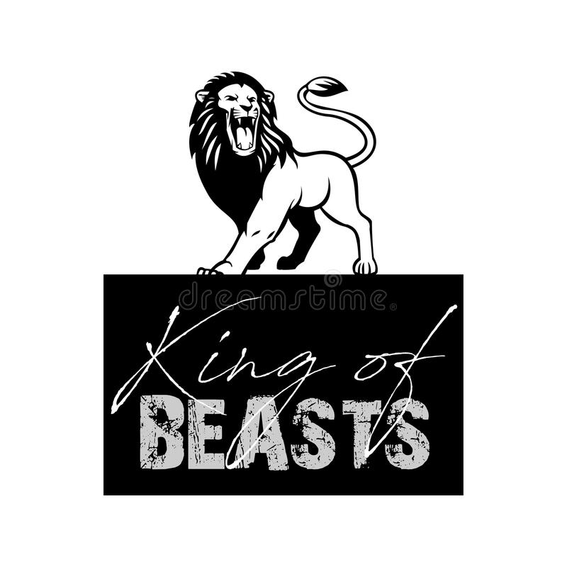 King of beasts T shirt Design. With roaring lion silhouette in white background stock illustration