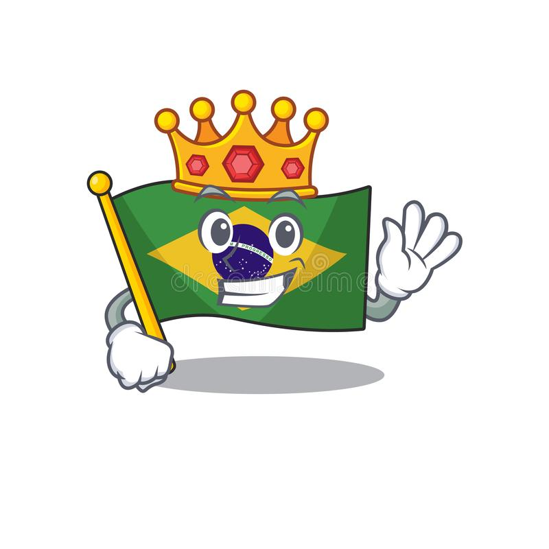 King brazil flag kept in mascot drawer. Illustration vector vector illustration