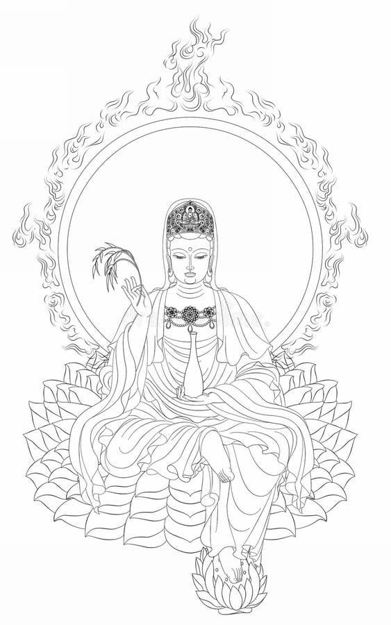 King Buddha. Clean sketch, drawing of King Buddha stock illustration