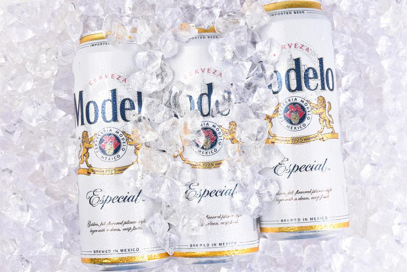 King cans of Modelo Especial on ice. IRVINE, CALIFORNIA - MARCH 29, 2018: King cans of Modelo Especial on ice. First bottled in 1925, Modelo Especial is the stock photography