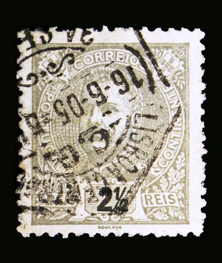 King Carlos I, serie, circa 1895. MOSCOW, RUSSIA - MAY 13, 2018: A stamp printed in Portugal shows King Carlos I, serie, circa 1895 royalty free stock photo