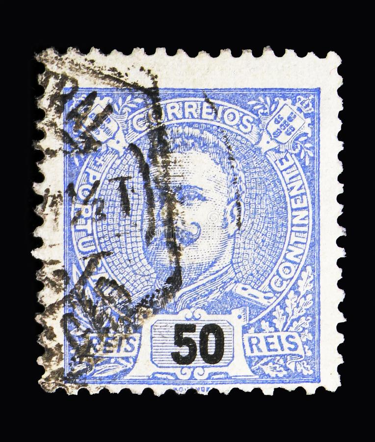 King Carlos I, serie, circa 1895. MOSCOW, RUSSIA - MAY 13, 2018: A stamp printed in Portugal shows King Carlos I, serie, circa 1895 stock images